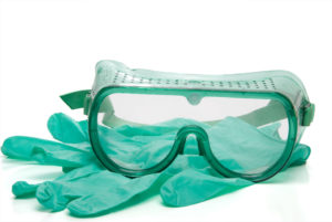safety glasses and latex free gloves